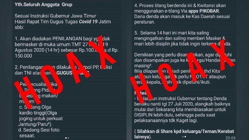 Informasi Denda dan Tilang Bagi Warga Jawa Timur Tak Pakai Masker Lintasjatim.com