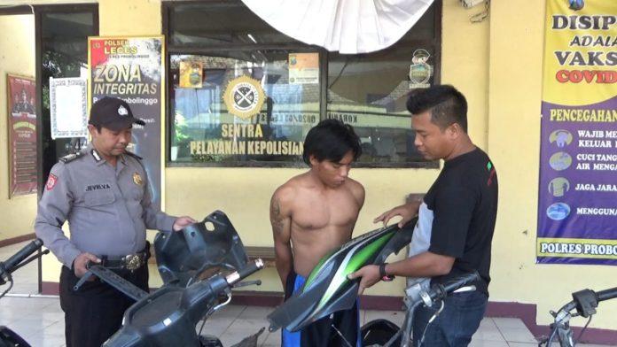 Pencuri Motor Tertangkap Warga di Leces Probolinggo