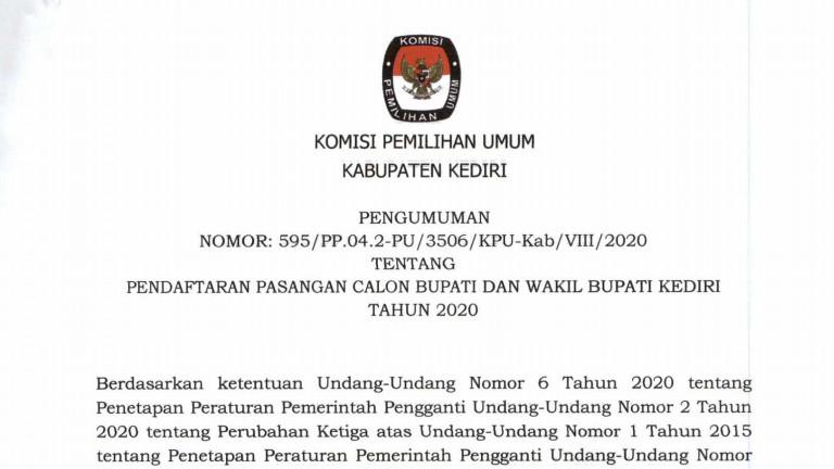 Pendaftaran Calon dan Wakil Bupati Kediri Tahun 2020