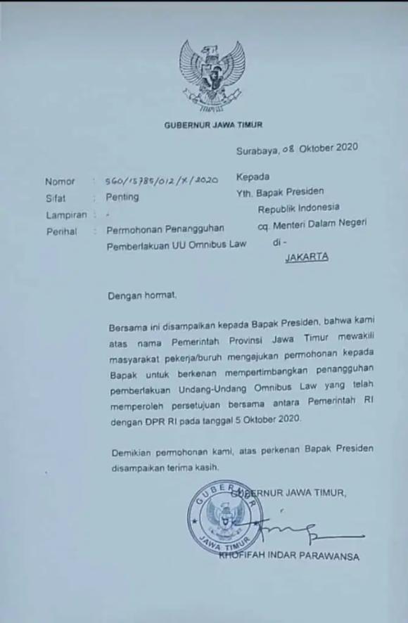 Surat Pemprov Jatim tentang Permohonan Penangguhan UU Omnibus Law