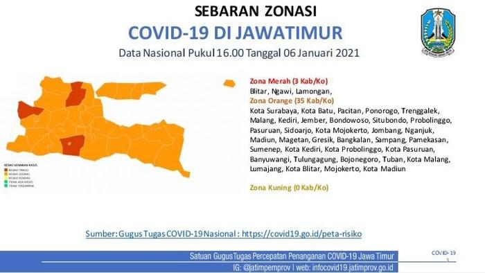 Zona Merah di Jawa Timur Terbaru 2021
