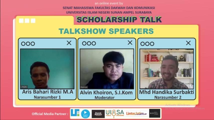 Para Pembicara Scholarship Talk Fakultas Dakwah dan Komunikasi UIN Surabaya